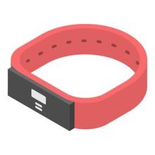 Red Smart Bracelet Icon. Isome...