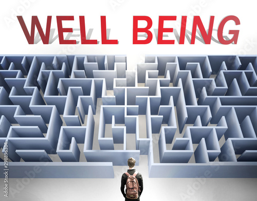 Well being can be hard to get - pictured as a word Well being and a maze to symb Fototapet