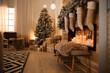 Leinwanddruck Bild - Stylish room interior with beautiful Christmas tree and decorative fireplace