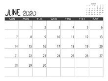 Calendar 2020 Year. June 2020 Planner. Desctop Calendar Design. Month Planner. Grunge Trendy Background. Life Or Business Planner. Place For Notes. Printable Template.