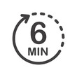 Six minutes icon. Symbol for product labels. Different uses such as cooking time, cosmetic or chemical application time, waiting time ...