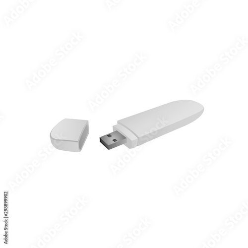 Obraz Usb flash drive isolated on white background. Vector illustration - fototapety do salonu