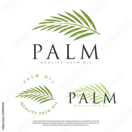 Photo hipster vintage palm leaf vector logo