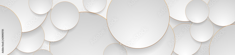 Fototapeta Tech geometric background with abstract golden and grey circles. Vector banner design