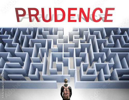 Prudence can be hard to get - pictured as a word Prudence and a maze to symboliz Canvas Print