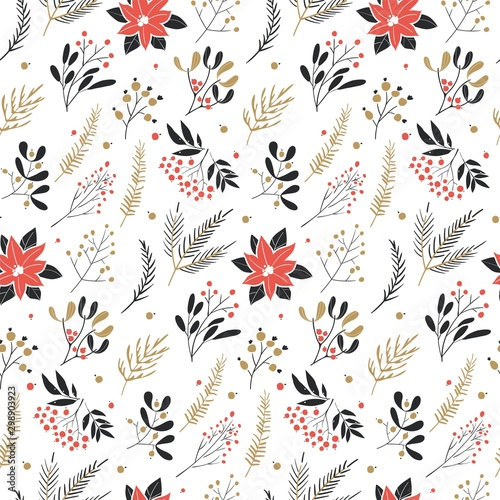 Fototapety, obrazy: Texture for fabric, wrapping, textile, wallpaper, apparel. Merry Christmas, Happy New Year seamless pattern.