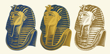 Set Of Vector Pencil Drawings Of Golden Mask Of Egyptian Pharaoh Tutankhamun. Pharaoh Of Ancient Egypt. Suitable For Advertising Poster, Flyer, Design Element For Travel Agency