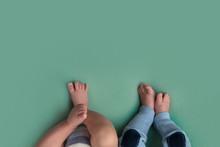 Feet Of Twins Newborns, Brothe...