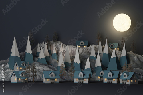 Beautiful Christmas winter snowy landscape background in night theme with full moon and mountains and low poly fir trees. 3d rendering