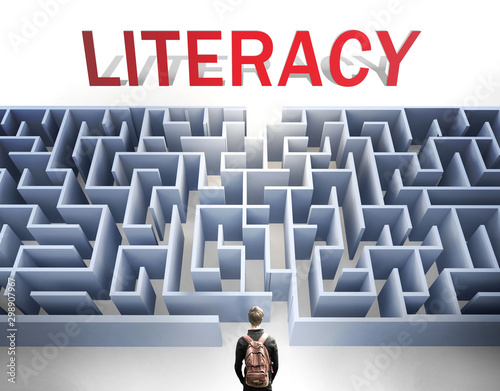 Literacy can be hard to get - pictured as a word Literacy and a maze to symboliz Wallpaper Mural