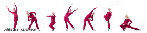 Photo Young woman doing exercises on white
