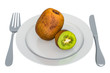 Kiwi on plate with fork and knife, 3D rendering