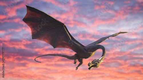 Fototapeta beautiful dragon, fairy tale creature flying in the sky