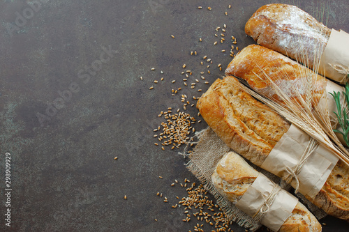 Foto auf Leinwand Brot Bread products on the table in composition - close-up