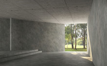 Empty Concrete Room Interior W...