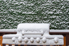 Snow Covered Barbeque During A Snow Storm, Bbq Cover With Snow