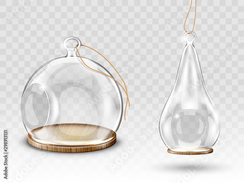 Glass christmas balls, hanging dome with hole, candle holder or flower terrarium realistic vector Fototapete
