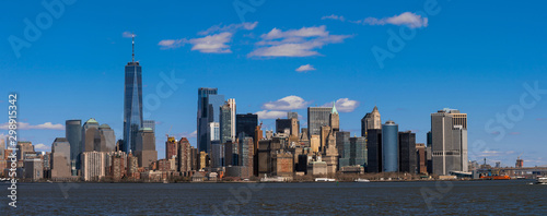 Panorama Scene of New york cityscape river side which location is lower manhattan,Architecture and building with tourist concept