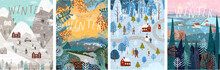 Winter! Vector Cute Illustrations Of Nature, Landscape, Houses, Trees, Family And People For A  New Year And Christmas Background.