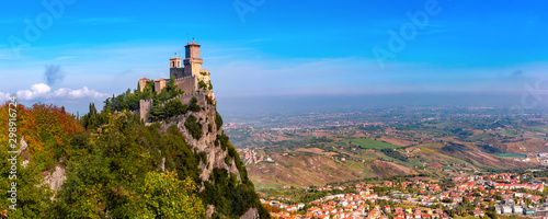 Panorama of First tower Guaita fortress in the city of San Marino of the Republi Canvas Print