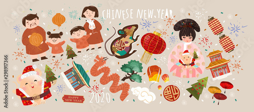 Fototapeta Happy Chinese New Year! 2020 is the year of the rat. Vector japanese or korean illustrations for asian holiday: mouse, geisha woman in kimono with santa claus, family celebrates new year obraz