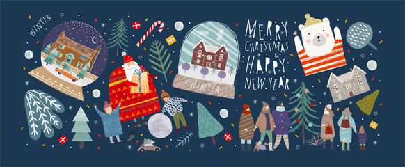 FototapetaWinter holidays merry christmas and happy new year! Vector illustrations and objects of nature, landscape, houses, people, and trees; drawing santa claus and happy children and family in the forest.