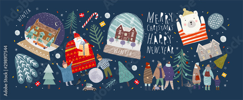 Winter holidays merry christmas and happy new year! Vector illustrations and objects of nature, landscape, houses, people, and trees; drawing santa claus and happy children and family in the forest.