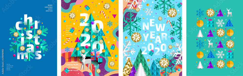 Fototapeta Merry Christmas and a happy new year 2020! Modern abstract geometrical illustration of a Christmas tree, snowflake and toys for the holiday poster, banner, card, background or pattern