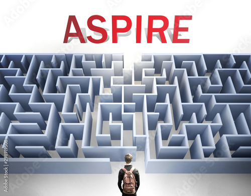 Aspire can be hard to get - pictured as a word Aspire and a maze to symbolize th Wallpaper Mural