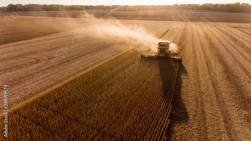 Farmer harvesting soybeans in Midwest Canvas Print