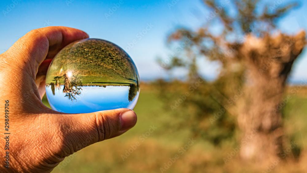 Fototapety, obrazy: Crystal ball landscape shot near Wallersdorf, Bavaria, Germany
