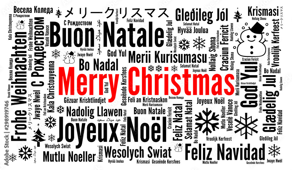 Fototapeta Merry Christmas in different languages word cloud