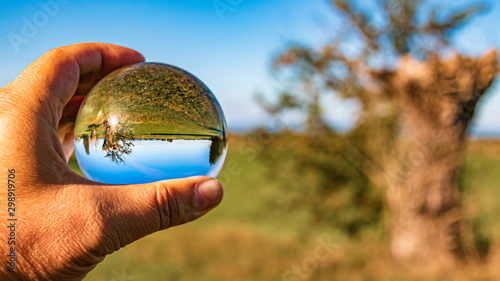 Foto auf Gartenposter Blau Crystal ball landscape shot near Wallersdorf, Bavaria, Germany
