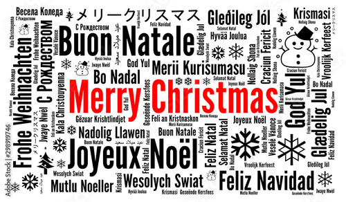 Obraz Merry Christmas in different languages word cloud  - fototapety do salonu