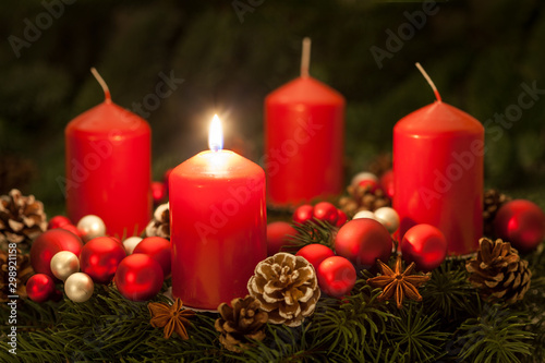 Advent wreath with candles on the first Sunday in Advent