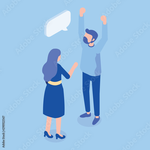 Fototapety, obrazy: Isometric man and woman standing and having conversation. Talking. Business people team. Disscussing new idea. Coworkers. Vector isolated isometric characters.