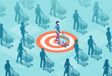 Vector Of A Targeted Customer With A Shopping Cart