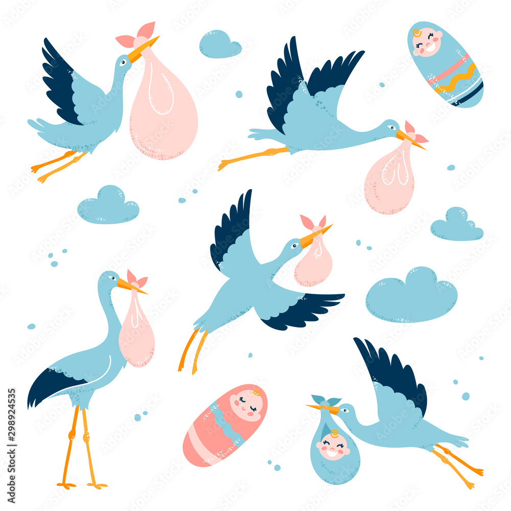 Fototapety, obrazy: Storks carry children to their parents. Flying birds. Vector illustration on a white isolated background