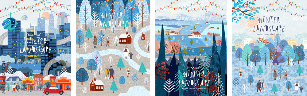 Fototapeta Winter nature, village, country, city landscapes. Vector illustration of natural, urban and rustic background for poster, banner, card, brochure or cover.