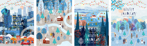 Winter nature, village, country, city landscapes. Vector illustration of natural, urban and rustic background for poster, banner, card, brochure or cover.
