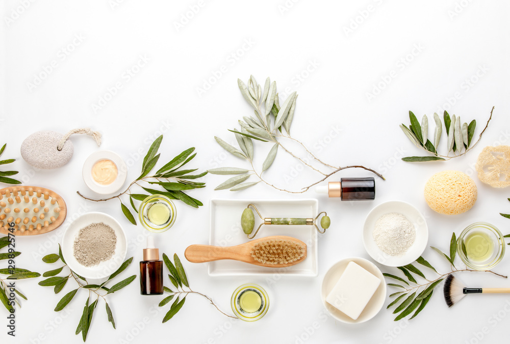 Fototapety, obrazy: Spa concept with olive oil natural cosmetic ingredients