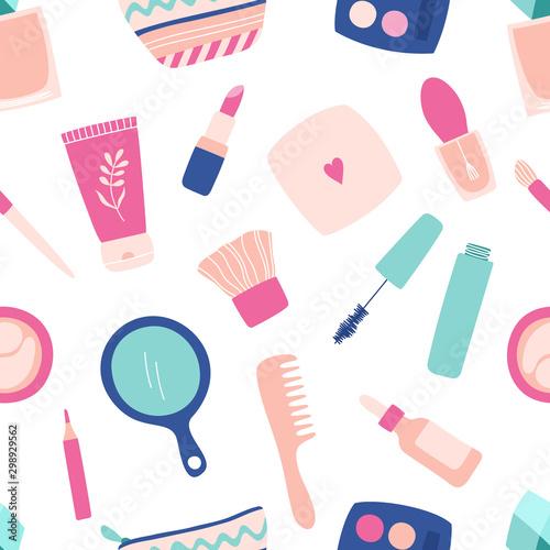 Tapety Glamour  bezproblemowa-uroda-kosmetyki-do-makijazu-pielegnacja-skory-twarzy-krem-puder-tusz-do-rzes-szminka-perfumy-kosmetyczka-lusterko-grzebien-paleta-cieni-do-powiek-recznie-rysowane-ilustracja-wektorowa
