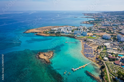 Aerial view of Nissi beach, Agia Napa, Cyprus