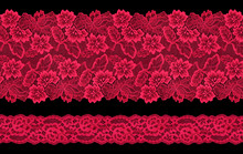 Set Of Red Lace Ribbons On A B...
