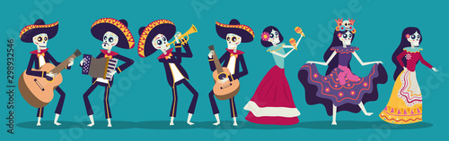 dia de los muertos card with mariachis and catrinas skuls