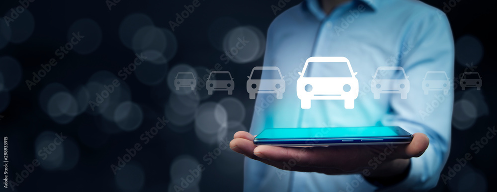 Fototapety, obrazy: man hand car model with tablet in screen