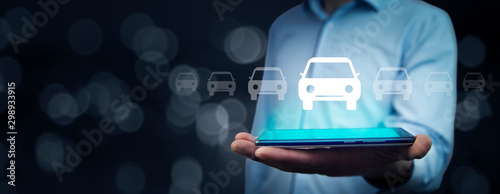 man hand car model with tablet in screen - 298933915