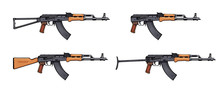 Kalashnikov Rifle. Firearms. Colorful Image Set Of Kalashnikov Assault Rifle AK-47, AKM, AKC, AKMC, AK-74. Firearms In Combat. Assault Gun Wireframe. Machine Guns. Assault Rifles. Vector Graphics