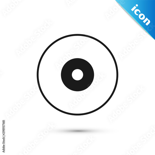 Fotografia, Obraz Black CD or DVD disk icon isolated on white background