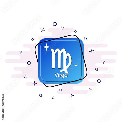 Photo Blue button with zodiac symbol Virgo